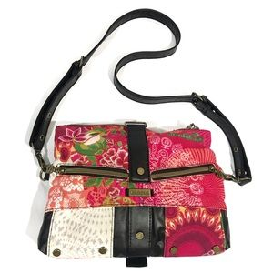 Desigual red/white patchwork crossbody purse